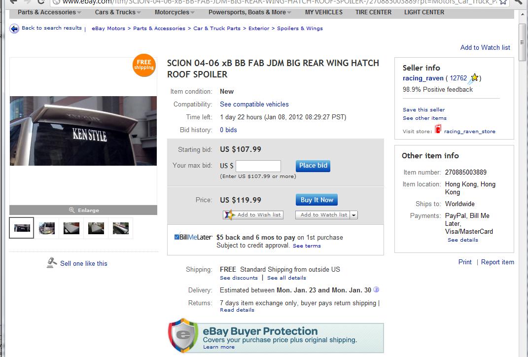 Ebay Spoiler - Scionlife.com